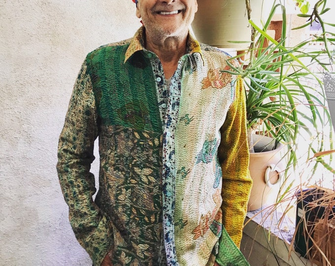 Musicians button down one of a kind reversible silk upcycled kantha shirt