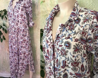 English Garden Floral blockprint cotton voile button down shirtdress/duster