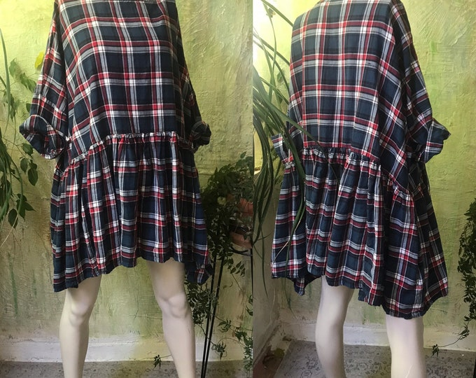 Everybody tunic/dress in plaid flannel