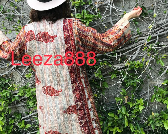 Colorado reversible silk kantha coat