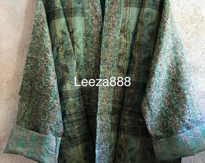 Spearmint and Sage silk kantha plus size reversible kimono jacket