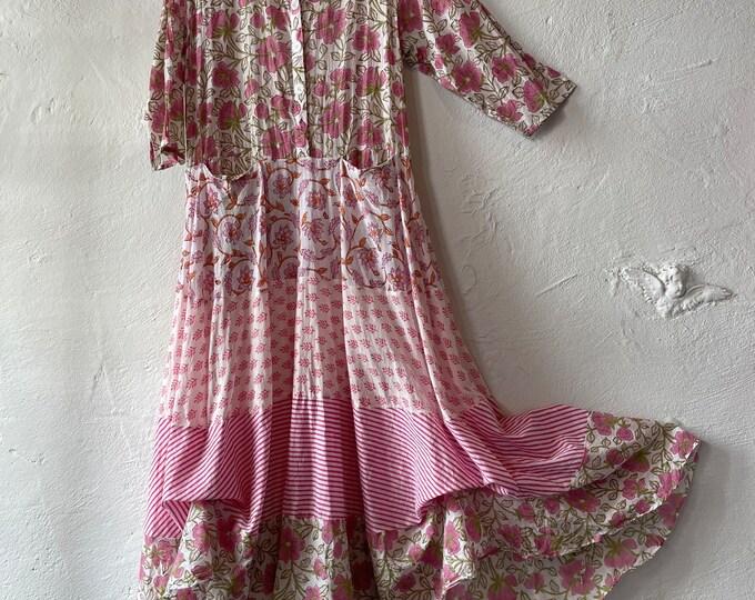 Shirtwaist prairie dress in cotton voile