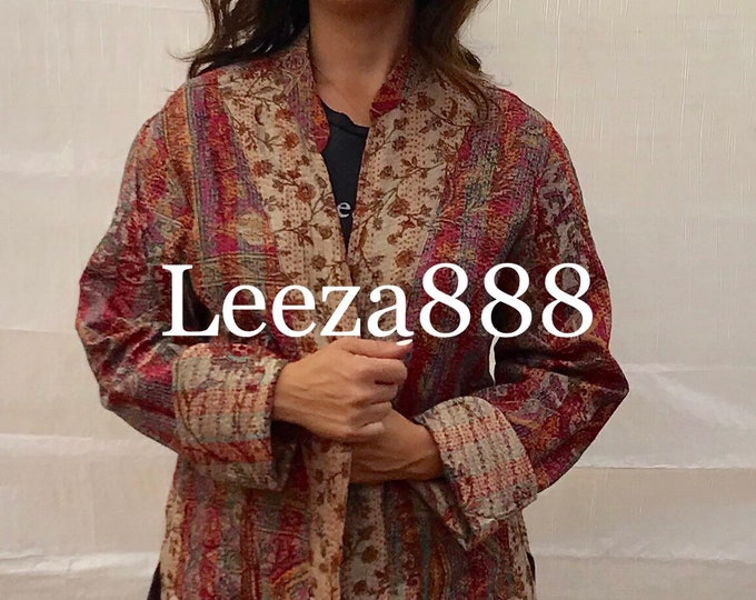 Amalie country floral autumn colors mandarin style reversible kantha cropped jacket