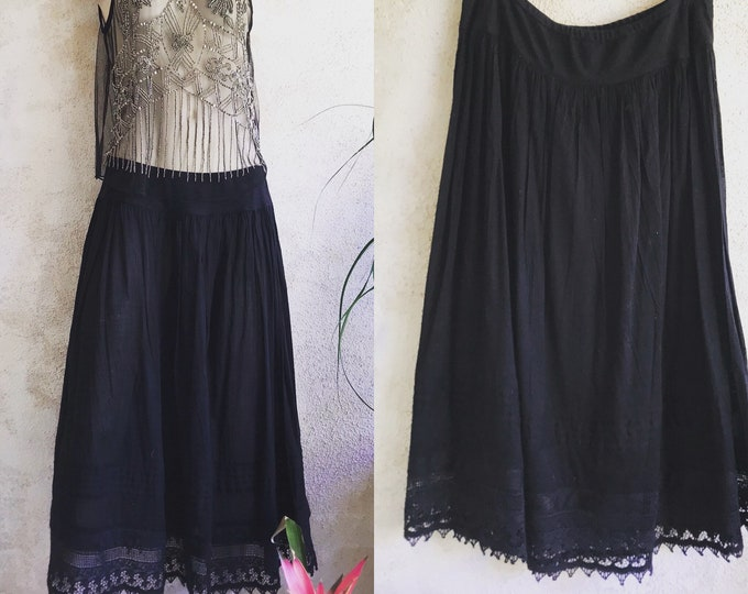 Black cotton voile dancer skirt