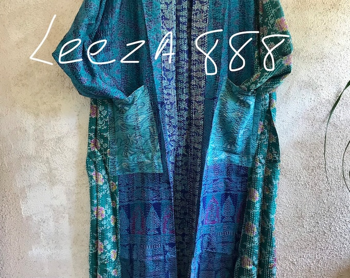 Ocean blues and greens come together in this stunning plus size reversible silk kantha duster/kimono