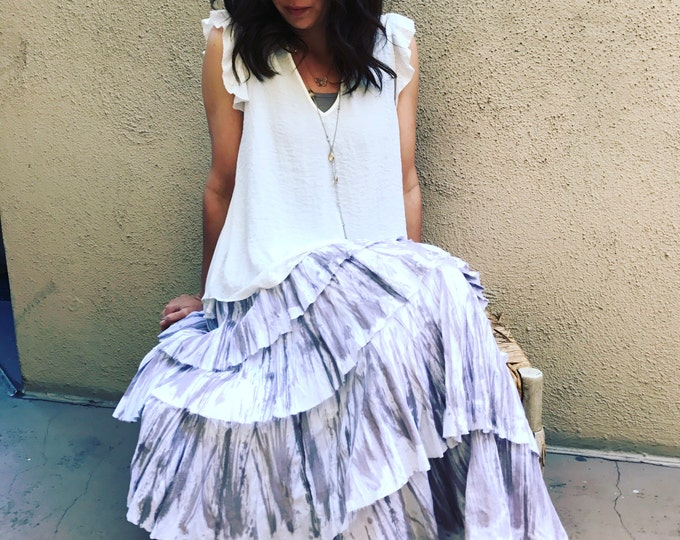 Hand painted layered gypsy skirt