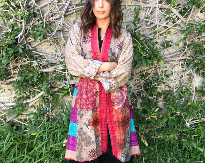 Montreal evening kimono in silk kantha reversible silk