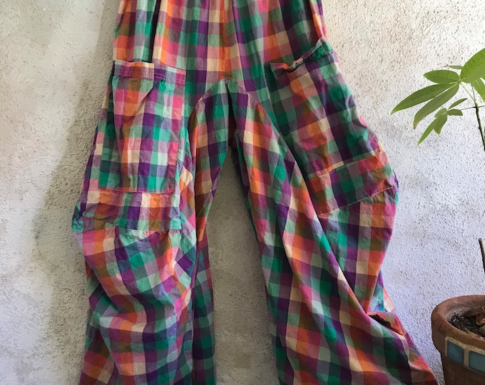 Fabulous colorful plaid cotton lagenlook pant
