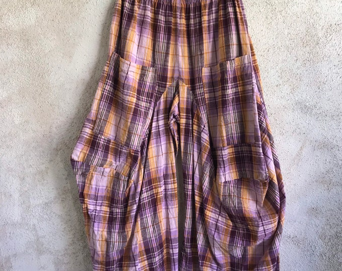 heavy cotton gauze plaid purple funky pant