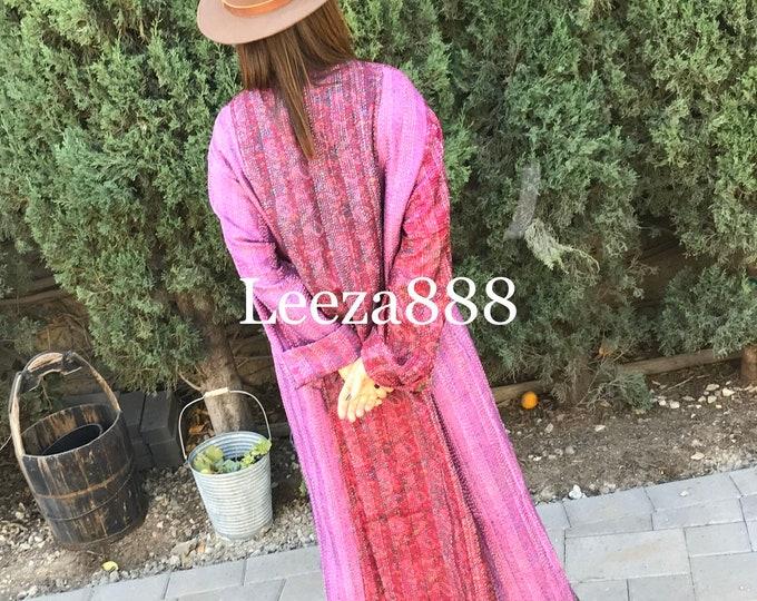 Raspberry Soufflé plus size reversible silk kantha duster/kimono