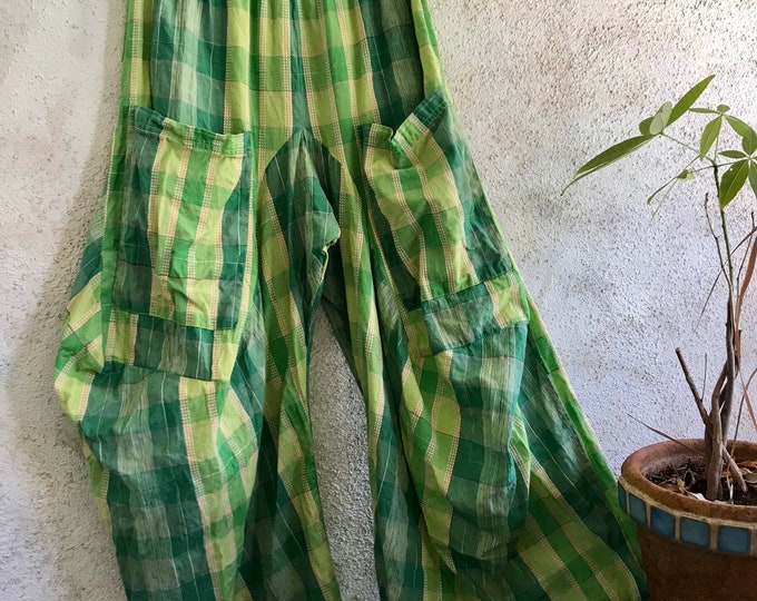 Leaf green plaid cotton lagenlook pant