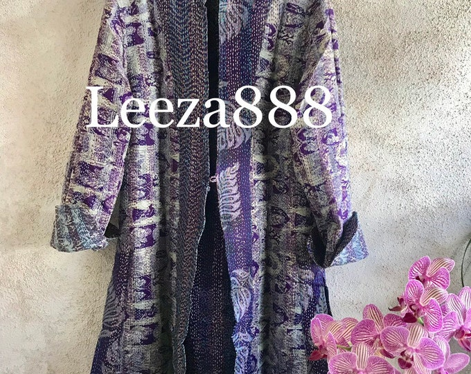 Deep purple and amethyst in this stunning reversible longer silk kantha one button duster