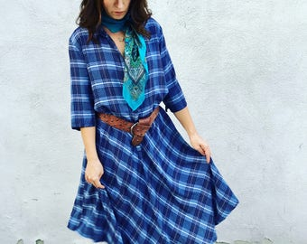 Flannel plaid house dress