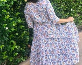 Outlander dress in floral block print cotton voile