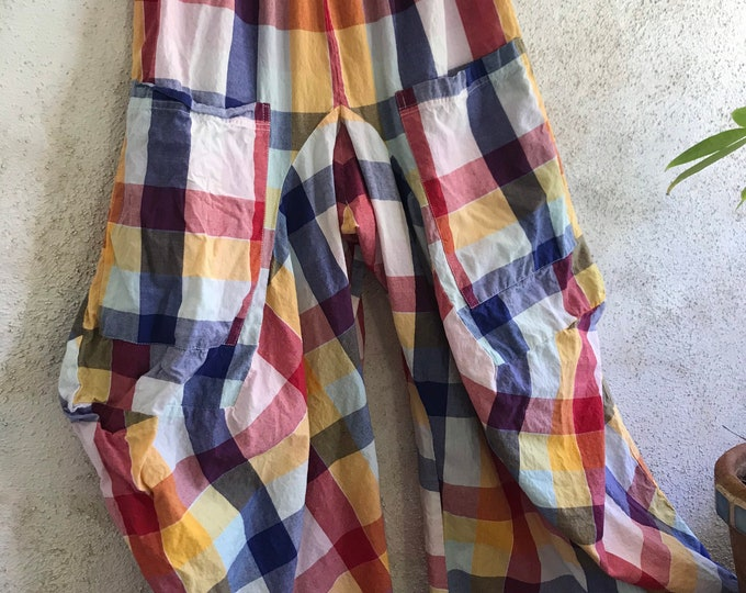 Stunning plaid color combo cotton lagenlook pant