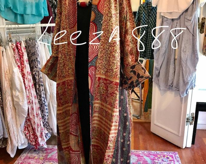Opera length reversible plus size silk kantha coat