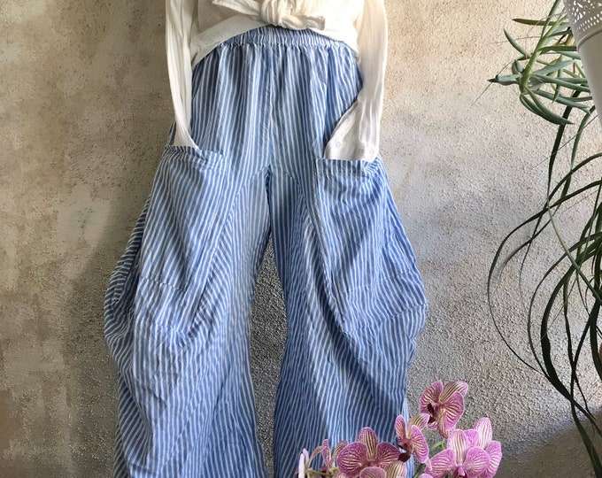 BLUE BEACH stripe  cotton lagenlook pant