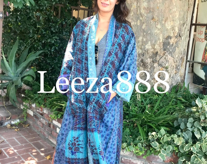 Amethyst and turquoise dreamcoat in plus size reversible silk kantha duster/kimono