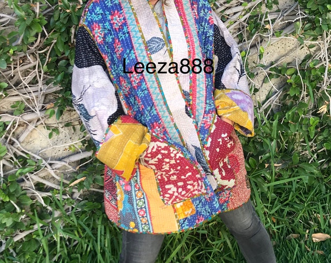 Plus size Shakespeare in the Park cotton kantha reversible designer kimono style jacket