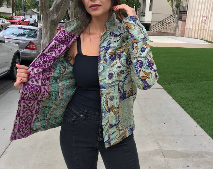 Silk kantha cropped jacket