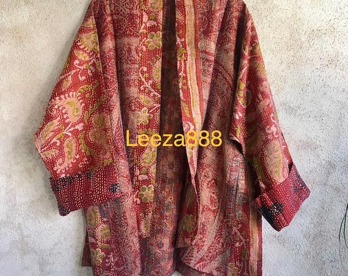 Floral Fusion kantha plus size reversible kimono jacket