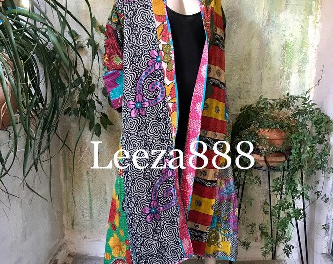Wild mountain plus size reversible opera kantha coat