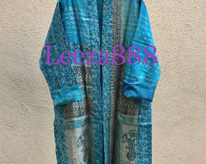 Greek Islands blue plus size reversible silk kantha duster/kimono