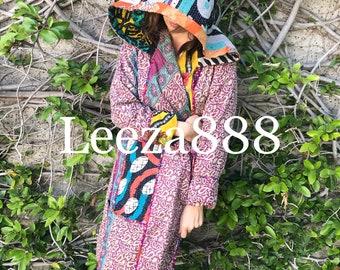 Artist in Residence reversible cotton kantha hoodie