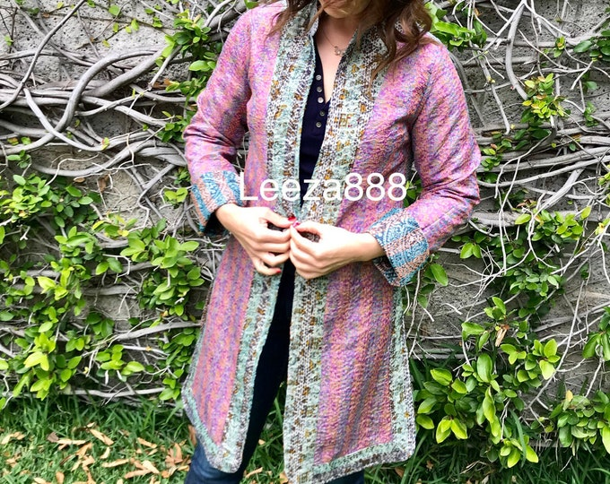 Soft pale colors in a reversible longer silk kantha duster
