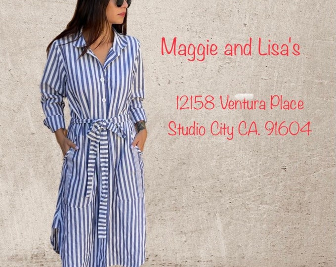 Heavy cotton striped button down shirtdress/duster