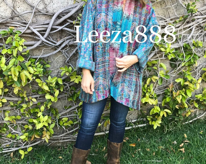 Plus size silk kantha jacket/kimono Amethyst Turquoise combo reversible silk jacket