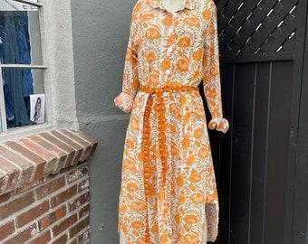 Creamsicle floral cotton button down shirt dress