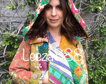 Nomad style reversible kantha hoodie perfect for Festivals