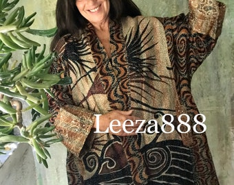 Witchy Woman kantha plus size reversible kimono jacket
