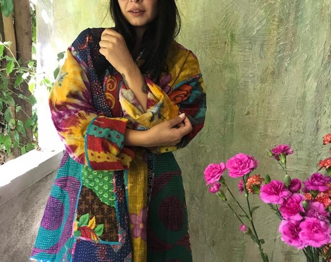 Witches Brew reversible plus size vintage kantha kimono jacket