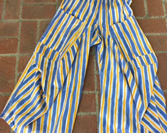 Painted stripe print cotton poplin lagenlook pant