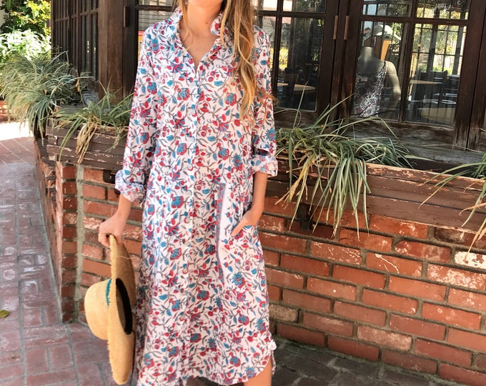 Featured listing image: floral block print cotton voile shirtdress/duster