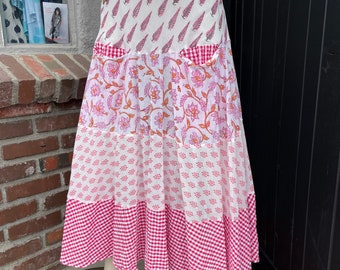 Mixed cotton print prairie skirt in pink and red gingham