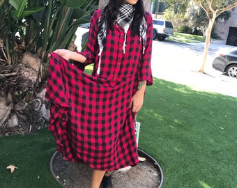 Cotton flannel red check housedress
