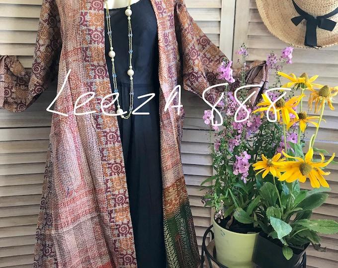 Reversible silk kantha kimono in earth tones