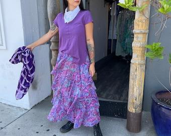 Layered silk printed skirt in purple
