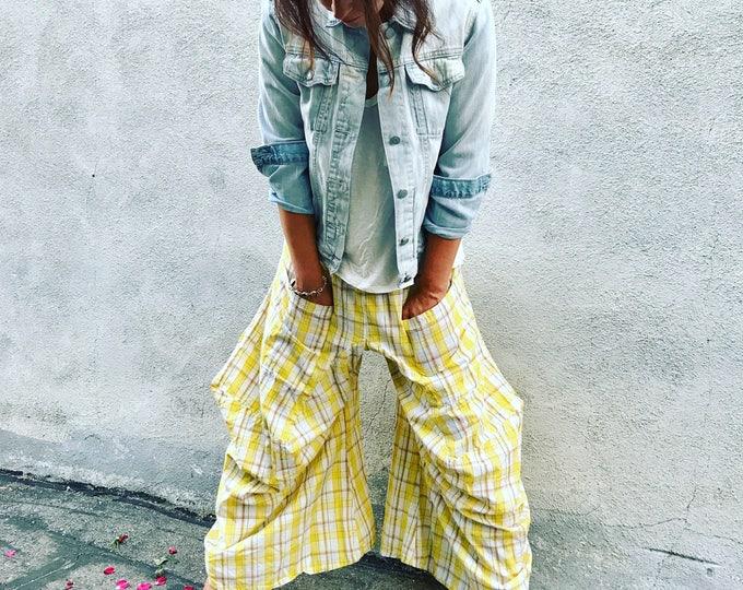 Yellow plaid funky pants