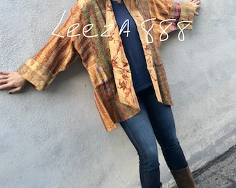 Falling leaves autumn colors in a plus size reversible silk kantha kimono/jacket