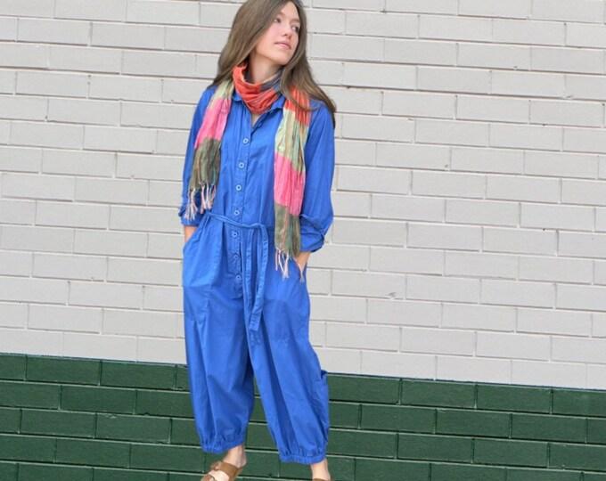 Marine blue cotton poplin jumpsuit