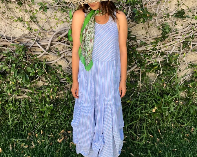 blue pinstriped cotton sleeveless funky dress