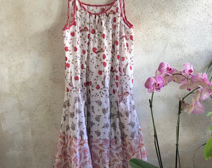 A perfect spaghetti strap cotton voile blockprint floral mixed print dress with pockets
