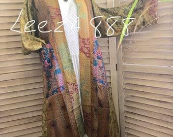 Stunning reversible silk kantha kimono
