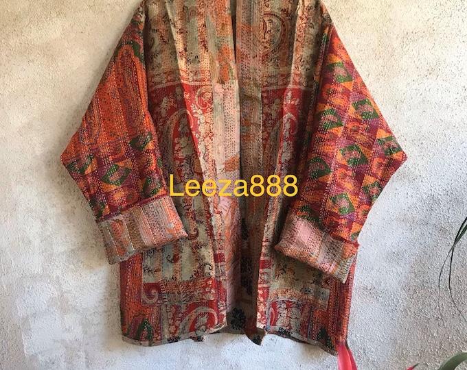 Mountain Mama kantha plus size reversible kimono jacket