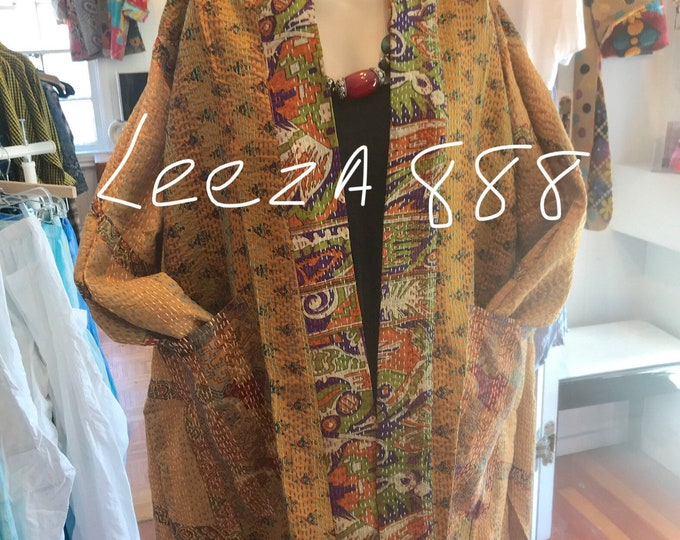 Plus size silk kantha in autumn colors