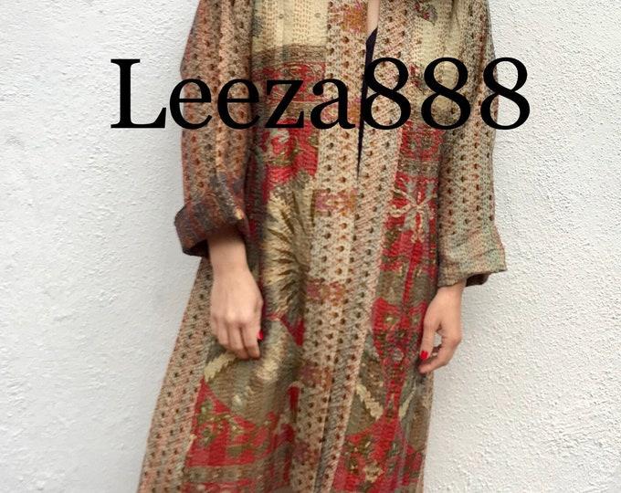subtle and sophisticated reversible silk kantha coat